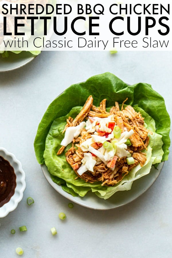 Make summer meals go easier this summer with this Instant Pot BBQ Chicken Lettuce Cups and traditional dairy free mayo. Such a tasty and delicious recipe! thetoastedpinenut.com #thetoastedpinenut #instantpot #instantpotchicken #shreddedchicken #bbqchicken #lettucecups #lettucewraps
