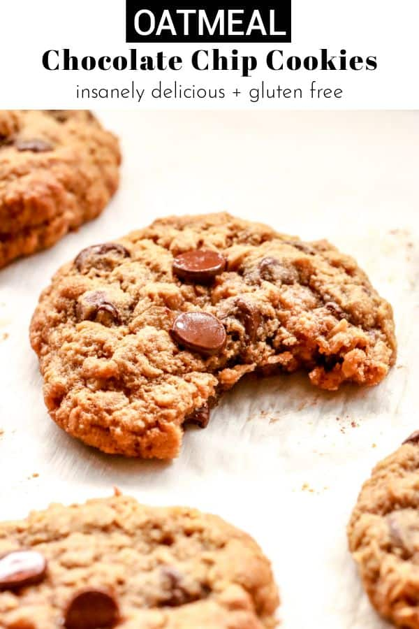 gluten free oatmeal chocolate chip cookies pinterest image