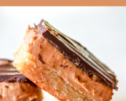 "side view of a millionaire bar with three layers: shortbread, peanut butter, and chocolate. the bar leans against a second bar. both are on a white counter. text overlay reads ""gluten free peanut butter millionaire bars."""