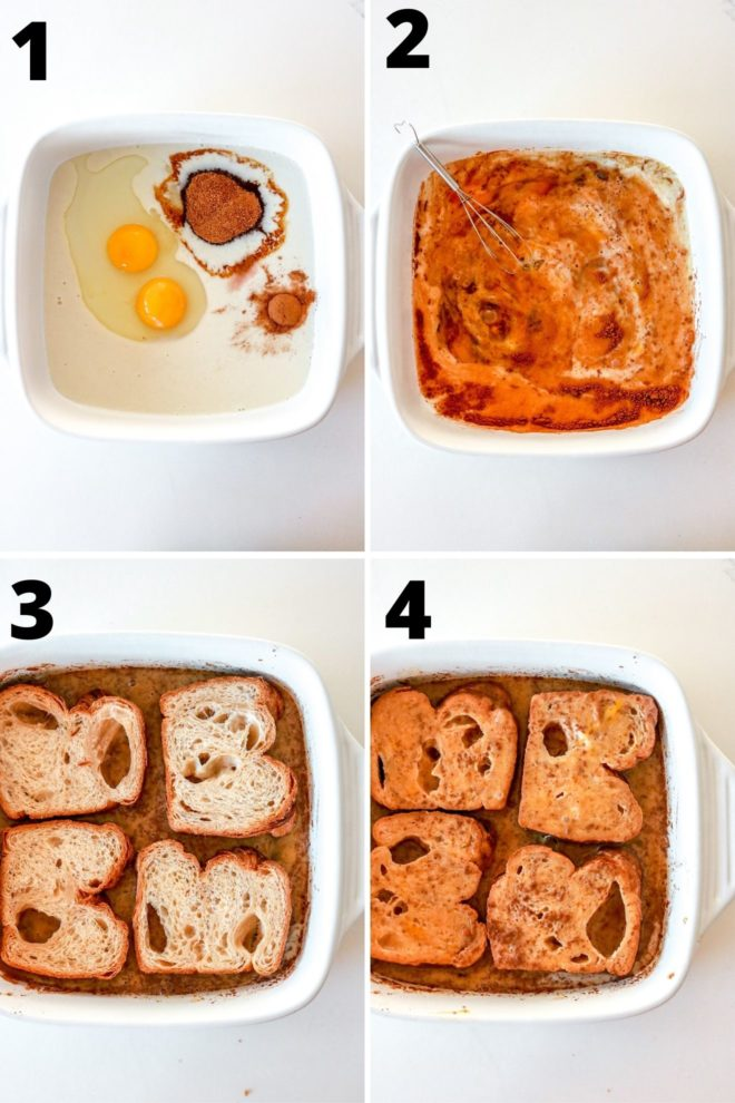 This is an overhead view of four steps to make healthy french toast.