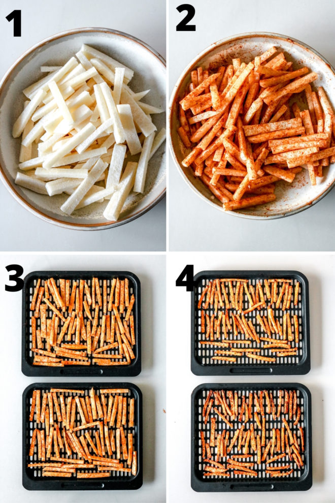This is an overhead image of four process images to make jicama fries.