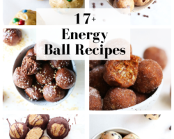 """This is a collage of six energy ball images. Text overlay reads """"17+ energy ball recipes."""""""