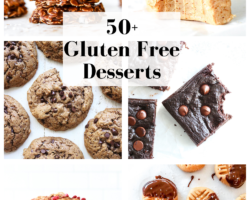 """this is a collage of six dessert images. Text overlay reads """"50+ gluten free desserts."""""""