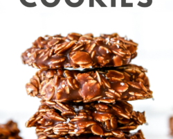 """This is a side view of a stack of four chocolate oatmeal cookies. The cookies sit on a white counter with a white background with more cookies blurred in the background. text overlay reads """"healthy no bake oatmeal cookies."""""""