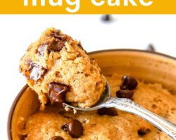 """This is a side image of banana cake in a yellow mug. A spoon is scooping out a bite of cake and leaning against the mug. Text overlay reads """"microwave banana mug cake."""""""